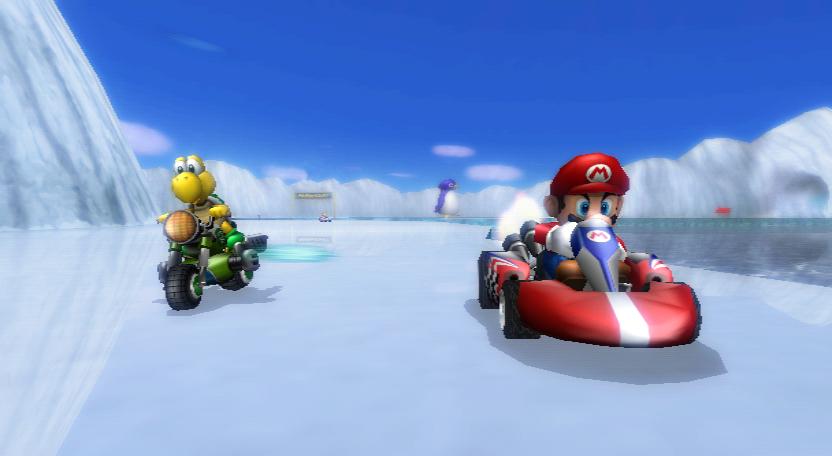 Mario Kart Wii - Niveau collision, un kart sera le plus souvent avantagé par rapport à une moto.